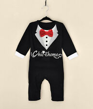 Newborn Baby Boy Gentleman Romper Bodysuit Formal Tuxedo Bow Jumpsuit Outfit Set