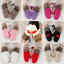 New Warm Lady Double-Deck Wool Hang Neck Winter Mittens Knitted Warm Fur Gloves