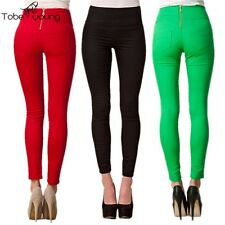 Womens High Waist Slim Pencil Leggings Skinny Pants Stretchy Jeggings Trousers