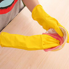 Practical Kitchen Rubber Gloves Latex Long Dish Washing Cleaning Protect Hand