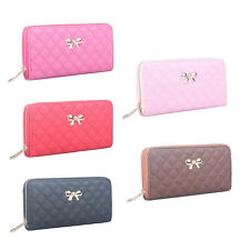 Fashion Zip Clutch PU Leather Wallet Purse Coin Card Bag Bowknot Long Wallet grd