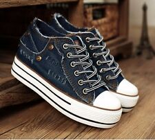 Womens Girls Denim Lace Up Sneakers Platform Wedge Muffin Canvas Rivets Shoes