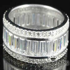 Mens Ladies 925 Sterling Silver 1 Row Baguette CZ Eternity Band Rhodium Ring 6~9