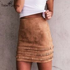Women Hight Waist Faux Suede Fringe Tassel Slim Bodycon Pencil Mini Short Skirt