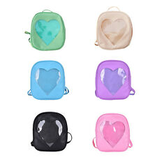 Style Women Transparent Heart Shaped Backpack Schoolbag Travel Hiking Bags gtddd