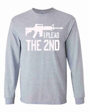I Plead The 2nd Long Sleeve Shirt Amendment AR-15 Heather Gray