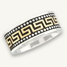 Cool GREEK KEY Stainless Steel Fashion Ring w Gold Tone Plating Size 8-15