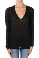 LANEUS New woman Black V neck Alpaca Blend Sweater Pullover Made in Italy