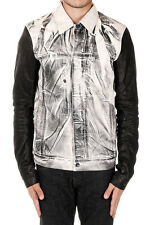 RICK OWENS DRKSHDW Man Denim Jacket with Sleeves in Leather Made in Italy