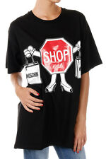 MOSCHINO COUTURE New Woman Black Cotton tee Shop T-shirt Made in Italy