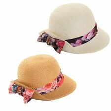 Hawkins Collection Straw Cloche Style Womens Hat with Scarf Band BARGAIN