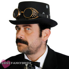 WOOL STEAMPUNK TOP HAT BRONZE GOGGLES GOTHIC VICTORIAN FANCY DRESS COSTUME