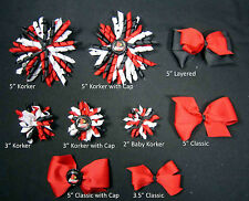 Louisville Cardinals Themed Korkers Classic Layered Toddler Hair bows UPICK