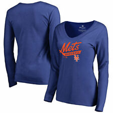 New York Mets Women's Royal Front Sweep Slim Fit Long Sleeve T-Shirt