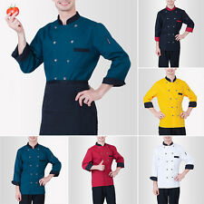 New Chef Coat Long Sleeve Double-Breasted Cook Uniform Unisex Workwear Jacket