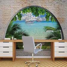 Beach Tropical Island Window View WALL MURAL PHOTO WALLPAPER (2842DK)