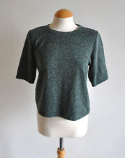 Ladies Topshop Green Marl Fleck Short Sleeve Zip Back Basic Top Casual Size 10