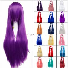 Lady Wig Long Curly Straight Full Hair Cosplay Halloween Party Fancy Dress Pink
