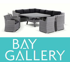 Outdoor Wicker Grey Modular Lounge and Dining Table Chairs Rattan Furniture Set
