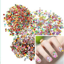 1000x3D Nail Art Tips Fimo Decoration Flower Fruit Animal Slice Clay DIY Sticker