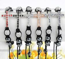 Crystal Pave Disco Ball Cross Hematite Beads Hip Hop Knitted Bracelet 6 Colors