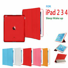 Slim Leather Magnetic Smart Cover Sleep/Wake For Apple iPad 2 3 4 Hard Back Case
