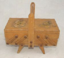 Vintage Wooden 2 Tier Cantilever Sewing/Storage Box