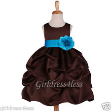 BROWN/TURQUOISE BLUE PICK UP WEDDING FLOWER GIRL DRESS 6M 12M 18M 2 4 6 8 10 12
