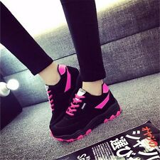 Fashion Womens Lace Up Breathable Platform Sneakers Walking Running Casual Shoes