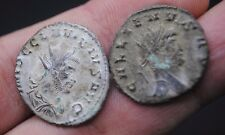 TWO UNRESEARCHED ANCIENT ROMAN SILVERED BRONZE COINS.