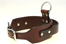 "2 1/4"" Tapered Agitation Dog Collar Handle D Ring Chestnut Show Harness Leather"