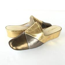 Lamo OOMPHIES Laurie Metallic Multi Leather Gold Wedge Slip On Mules Slippers 10