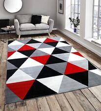 Diamond Pattern Black Red White and Grey Extra Large Home Floor Rug 160x225cm