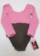 Tutu Couture Girls PINK BROWN Leotard Gymnastics Dance Top Cotton/Spandex