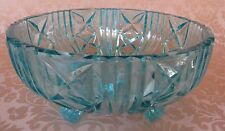Vintage Footed Green Blue Turquoise Glass Punch Fruit Bowl