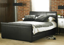Faux leather storage bed 4 drawers 4ft6 / 5ft double / kingsize Black or brown