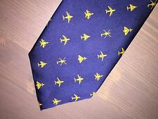SERCO NAVY BLUE TIE WITH GOLD AIRCRAFT LOGOS .