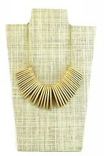 Handmade Wooden Tribal Statement Necklace Aged Natural/Beige Adjustable Length
