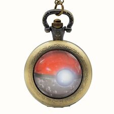 Pokemon Genius Ball Pattern Quartz Pocket Watch Necklace Chain Pendant Xmas Gift