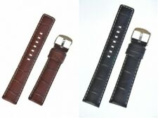 Padded Armani Style Leather Watch Strap With Buckle