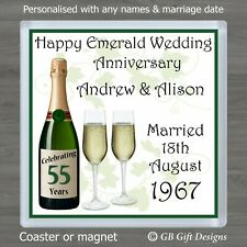 PERSONALISED 55th EMERALD WEDDING ANNIVERSARY DRINKS COASTER / MAGNET GIFT