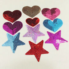 sequins heart motif iron/sew on embroidered patch Cloth badge applique diy WB