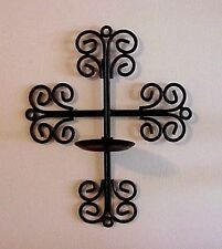 Vintage Solid Metal Cross Candle Holder Scroll Design Wall Hanging Christian Art