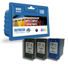 REMANUFACTURED HEWLETT PACKARD INK - 3 CARTRIDGE HP 21 HP 22 EVERYDAY VALUE PACK