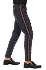 DOLCE&GABBANA New Men Blue Black Wool Cotton Pants Trousers Made Italy
