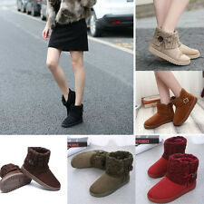 New Womens Snow Boots Classic Knit Ankle Boots Winter Warm Fur Platform Shoes