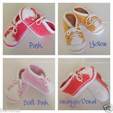 Handmade Crochet Knitted Size 6 - 9 Months Baby Sport Booties Shoes Cotton