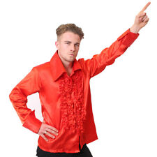 MENS RED DISCO RUFFLE SHIRT ADULT FANCY DRESS COSTUME 60S 1970S S M L XL XXL