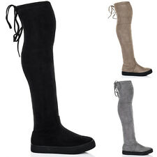 Womens Lace Up Skater Sole Flat Over Knee Tall Boots Sz 5-10
