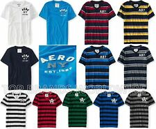 AEROPOSTALE MENS T-SHIRT EMBROIDERED LOGO AERO A87 STRIPED V-NECK CREW SHIRT NWT